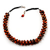 Orange Cluster Beaded Wood Cotton Cord Necklace - 58cm L