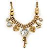 Vintage Burn Gold Charm 'Heart&Butterfly' Mesh Necklace - 40cm Length/ 6cm Extension