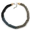 Multistrand Twisted Black/ Metallic Silver/ Metallic Beige Glass  Bead Choker Neklace In Silver Tone - 42cm Length/ 5cm Extender