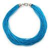 Multistrand Azure Blue Silk Cord Necklace In Silver Tone - 50cm L