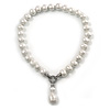 12mm Luxury White Freshwater Pearl Necklace In Silver Tone - 42cm L