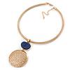 Gold Tone Medallion with Blue Stone Pendant with Flex Collar Necklace - 40cm L/ 7cm Ext