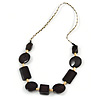 Round and Square Wood Bead Cord Necklace (Brown/ Natural) - 80cm L