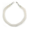 Multistrand Twisted White Frosted Glass Bead Necklace - 40cm L