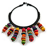 Statement Multicoloured Wood Bead Fringe Bib Style Collar Necklace - 58cm Long/ 12cm Drop