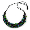 Purple/ Green/ Teal Cluster Wood Bead Chunky Necklace with Black Cotton Cord - 70cm L