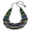 Multistrand Teal/ Green/ Purple Wooden Bead Black Cord Necklace - 100cm L Adjustable