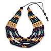 Multistrand Teal/ Natural/ Purple Wooden Bead Black Cord Necklace - 100cm L Adjustable