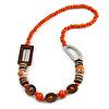 Trendy Wood, Acrylic Bead Geometric Chunky Necklace (Orange/ Brown) - 70cm L