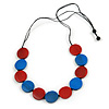 Red/ Blue Wood Button Bead Necklace with Black Cotton Cord - Adjustable - 90cm L