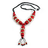 Red Wood Bead with Sea Shell Element Tassel Black Cord Necklace - 70cm L/ 15cm Tassel