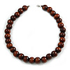 Chunky Brown Wood Bead Necklace - 60cm L