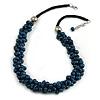 Dark Blue Cluster Wood Bead Black Cotton Cord Necklace - 52cm L/ 4cm Ext