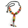 Multicoloured Wood Bead with Sea Shell Element Tassel Black Cord Necklace - 70cm L/ 15cm Tassel