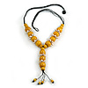 Yellow Wood Bead with Sea Shell Element Tassel Black Cord Necklace - 70cm L/ 15cm Tassel