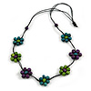 Purple/ Teal/ Green Wooden Bead Floral Cotton Cord Necklace - 78cm Long Adjustable