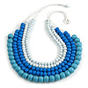 Statement Multistrand Layered Wood Bead Cotton Cord Necklace in White/ Pastel Blue/Light Blue - 80cm Long