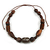 Geometric Wood Bead with Resin and Ceramic Element Cotton Cord Necklace in Brown - 48cm Long/ Adjustable
