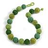 Chunky Green Glass Beaded Necklace - 57cm Length