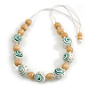 Stylish Wood Beaded Necklace with White Cotton Cords (White/ Natural) - 70cm Long
