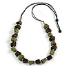 Green/ Brown Wood Bead Black Cotton Cord Necklace - 90cm Long