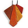 Red/ Brown/ Yellow/ Orange Geometric Wood Pendant with Black Waxed Cotton Cord - 84cm Long/ 10cm Pendant