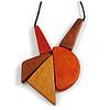 Red/ Brown/ Yellow/ Orange Geometric Wood Pendant with Black Waxed Cotton Cord - 84cm Long/ 12cm Pendant