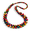 Long Multicoloured Cluster Wood Beaded Necklace - 82cm Long