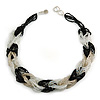 Unique Braided Glass Bead Necklace In Black/ White/ Transparent - 52cm Long