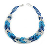 Unique Braided Glass Bead Necklace In Blue/ Transparent - 52cm Long