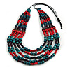 Multistrand Teal/ Red/ Purple Wooden Bead Black Cord Necklace - 100cm L Adjustable