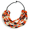 Multistrand Layered Wood Bead Cotton Cord Necklace in Orange/ Brown/ Natural - 68cm L