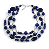 210g Solid 3 Strand Dark Blue Glass & Ceramic Bead Necklace In Silver Tone - 60cm L/ 5cm