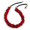Red Cluster Wood Bead Black Cotton Cord Necklace - 52cm L/ 4cm Ext