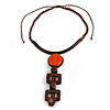 Statement Geometric Brown Wood and Orange Ceramic Bead Cotton Cord Tassel Necklace - 50cm Long/ 16cm Front Drop