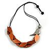 Bronze Brown Wood Leaf with Metallic Silver Wood Bird Black Cotton Cords Necklace - 80cm L Adjustable