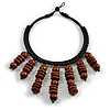 Statement Brown Wood Bead Fringe Bib Style Collar Necklace - 58cm Long/ 12cm Drop