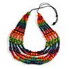 Multistrand Multicoloured Wooden Bead Black Cord Necklace - 100cm L Adjustable