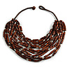 Statement Multistrand Wood Bead Cotton Cord Bib Style Necklace In Brown - 64cm Long