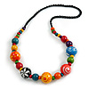 Multicoloured Wood Bead Black Cotton Cord Necklace - 66cm Long