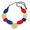 Long Blue/ Red/ Cream Geometric Wood Bead Necklace with Black Cotton Cords - 110cm L