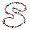Multicoloured Sea Shell & Imitation Pearl Bead Long Necklace -120cm Long
