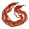 Multistrand Layered Orange Wood, Brown Acrylic Bead Necklace - 74cm L/ 5cm Ext