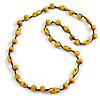 Yellow Wood Bead Black Cotton Cord Necklace - 80cm L