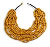 Statement Multistrand Layered Bib Style Wood Bead Necklace In Yellow - 50cm Shortest/ 70cm Longest Strand