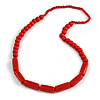 Red Wood and Ceramic Bead Cotton Cord Necklace - 68cm Long