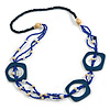 Long Multi-strand Dark Blue/ Electric Blue Ceramic/ Wooden Bead, Acrylic Ring Necklace - 90cm L