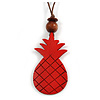 Red Wood Pineapple Pendant with Brown Cotton Cord Necklace - 96cm Long/ 10cm Front Drop - Adjustable
