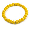 Chunky Banana Yellow  Round Bead Wood Flex Necklace - 44cm Long