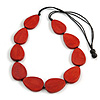 Geometric Red  Wood Bead Black Cord Necklace - 80cm Long Adjustable